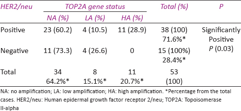 Table 3: Association between topoisomerase II-alpha gene status and human epidermal growth factor receptor 2/neu expression in patients with breast cancer