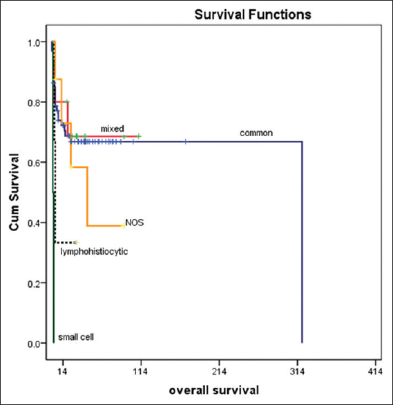 Figure 3: Significant differences in survival between different histological subtypes of anaplastic large cell lymphoma